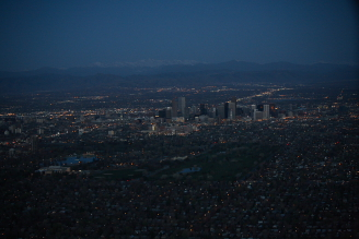 Denver Sunrise Aerial 21 min before sunrise