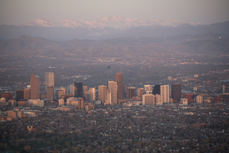 Denver Sunrise Aerial 3 min after sunrise