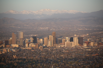 Denver Sunrise Aerial 11 min after sunrise